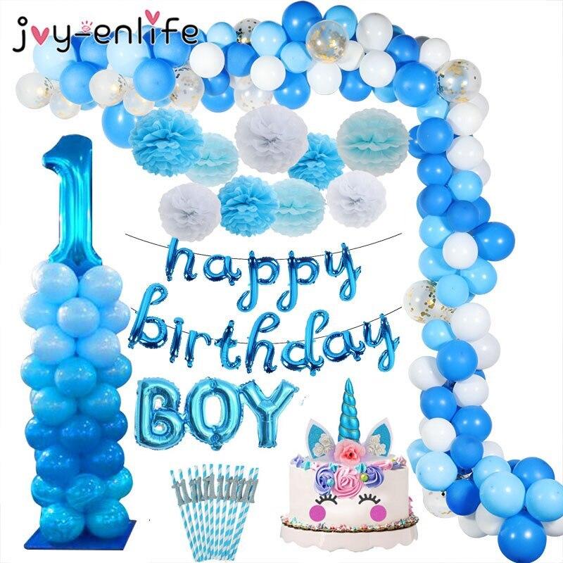 Niebieskie balony na 1 urodziny