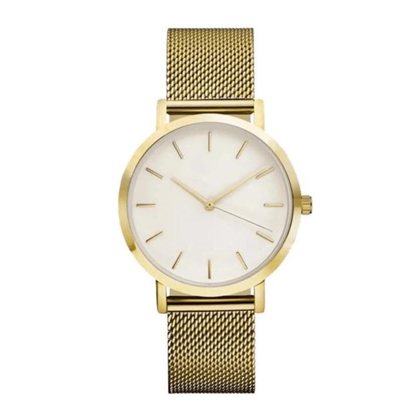 Złoty zegarek z białą tarczą