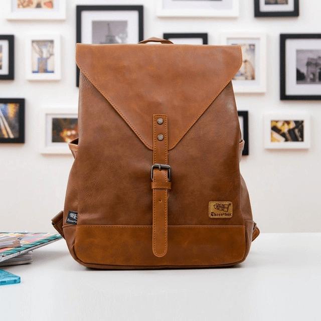 Brązowy plecak ze skóry vintage