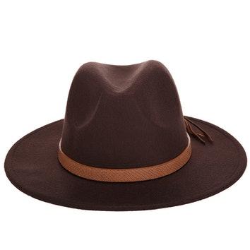Brązowy kapelusz fedora z wełny