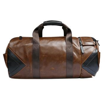 brązowa skórzana torba weekendowa