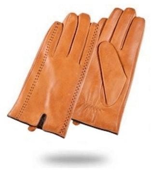brązowe rękawice ze skóry
